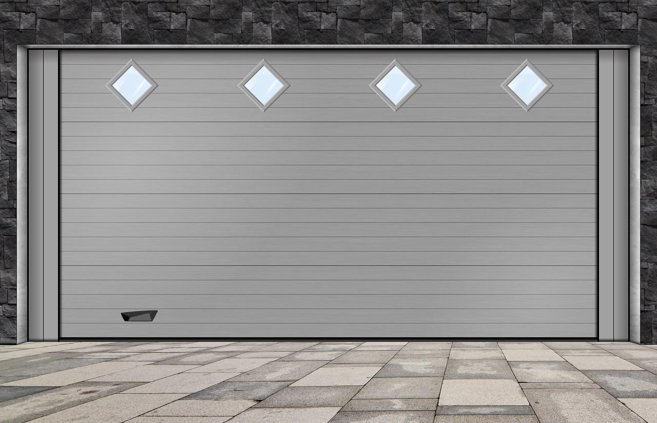 porta seccionada com visores losango pequeno