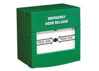 botão verde para porta de vidro